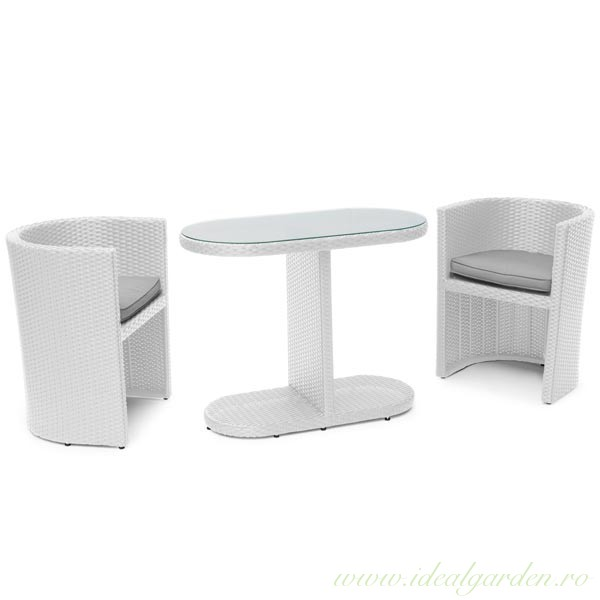 Set complet rattan sintetic - Orly - alb - 23700 - Cafe